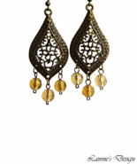 Antiqued Brass Marquise Brown Chandelier Earrings - $11.90+