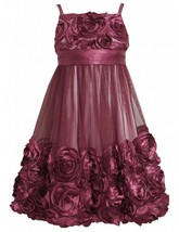 Big Girls Tween 7-16 Burgundy-Red Bonaz Rosette Bubble Hem Social Dress