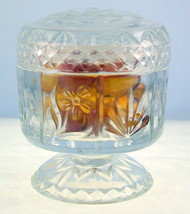 Vintage Fostoria Avon clear glass footed lidded compote 1975-76 USA - $15.00