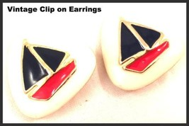 Nautical Clip on Earrings Red White Blue Enamel Painted Vintage Jewelry - $39.60