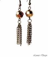 Antiqued Brass Copper Tassel Dangling Earrings - $17.90+