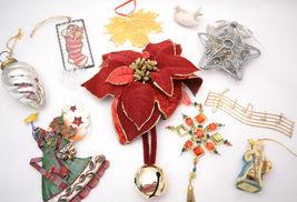 Lot of 10 Ornaments Christmas Decorations, Santa, Angel, Dove, Poinsetti... - $8.99