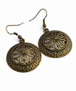 Round Antiqued Brass Dangling Earrings with Pewter Charms - $14.90+
