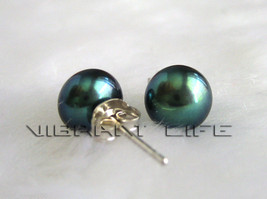 7.5-8.0mm Peacock Green Freshwater Pearl Studs Earring AC - $5.74