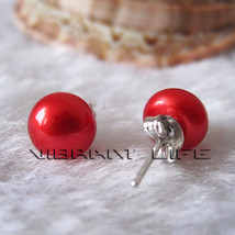Cute 8590mm Red Freshwater Pearl Stud Earrings AC - $7.94
