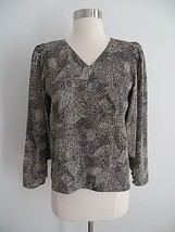 Abstract print black beige loose-fit v-neck blouse top fits size SMALL s... - $6.99