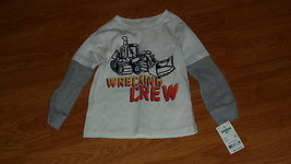 Osh Koah Boys Knit Shirt Size 2T White Gray Wrecking Crew MSRP:$22.00 Nwt - $9.95