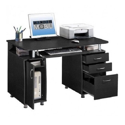 Compact computer desk workstation home office storage for Home office workstation desk