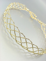 SHIMMERY CHIC Gold Metal Lattice Weave Braided ... - $18.99
