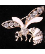 Jewelry Rhinestone Bee Pin Broach Lapel Pin Gold-Cream Colored Honey Bee... - $19.99
