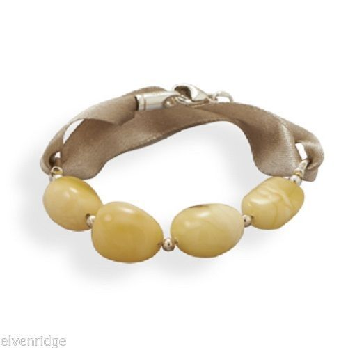 "7"" Ribbon Bracelet with Butterscotch Baltic Amber Sterling Silver"