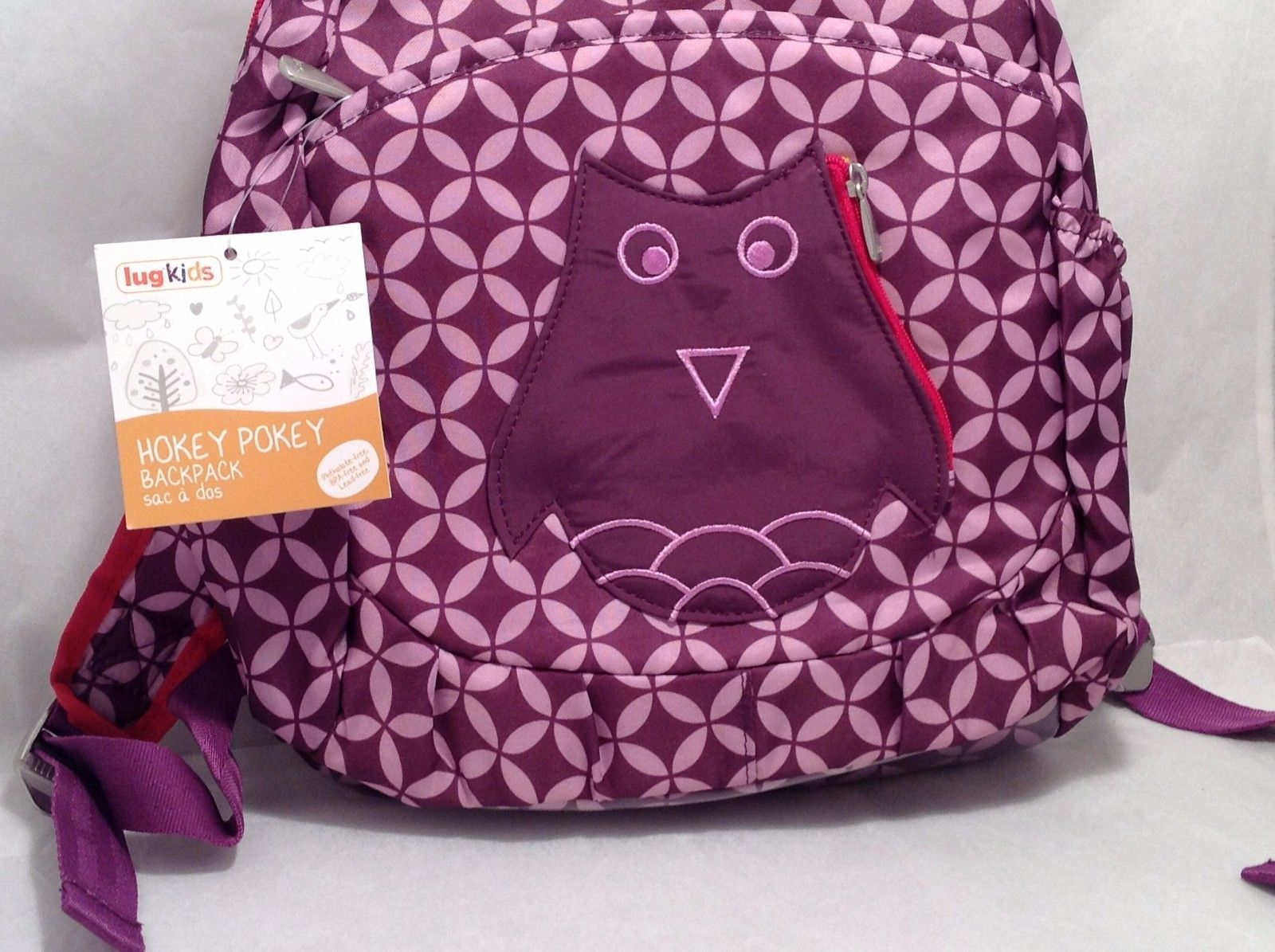 Adorable New With Tags NWT Lug Kids Hokey Pokey Backpack Plum Purple Owl