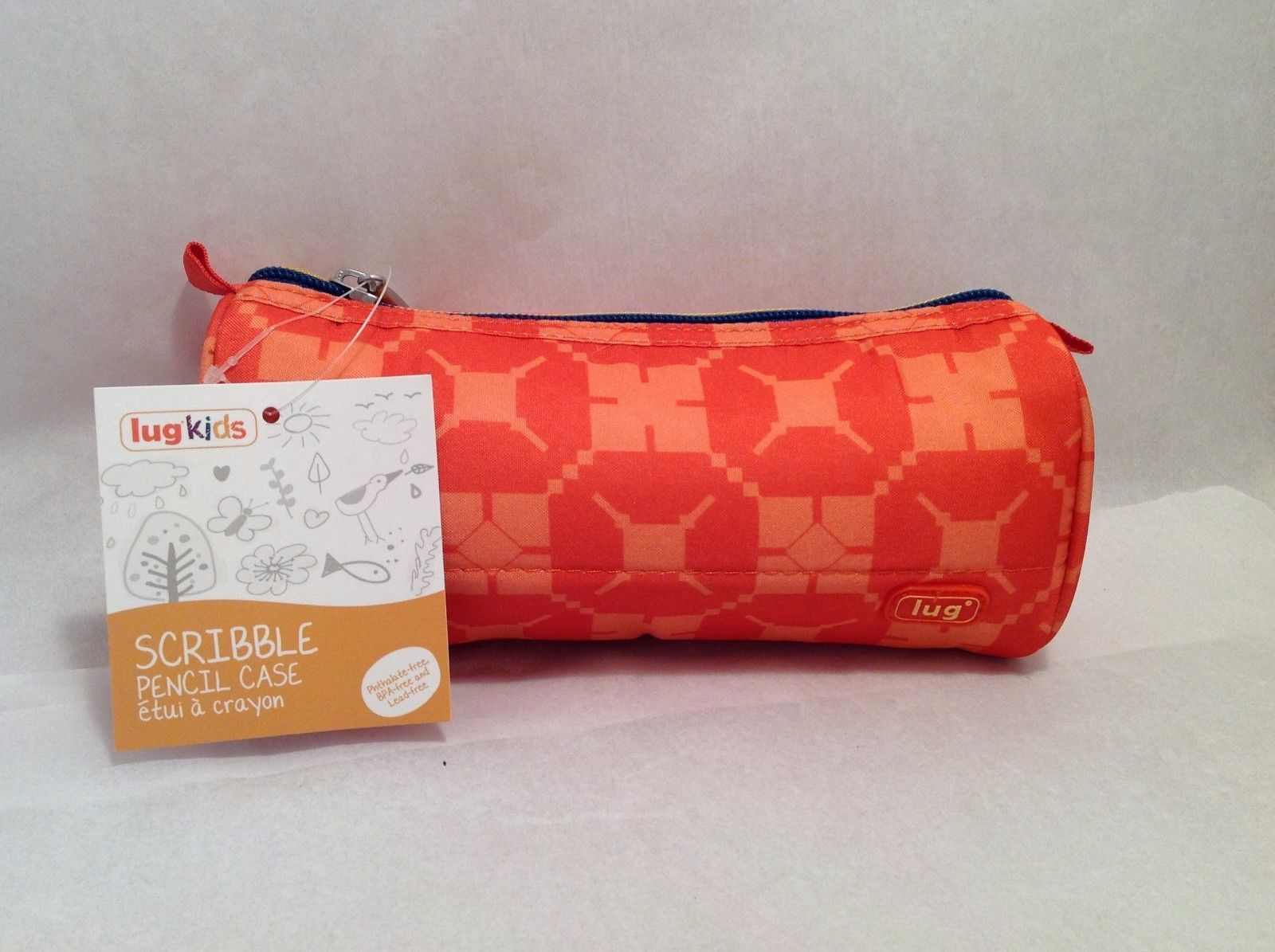 Adorable New With Tags NWT Lug Kids Scribble Pencil Case Sunset Orange