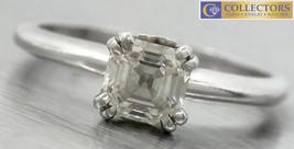 Ladies Platinum 18K White Gold Asscher Cut 0.77ct Diamond Engagement Ring - £2,988.26 GBP