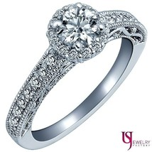 Natural Halo Round Cut Diamond Engagement Ring 14k White Gold 0.98 Carat... - €1.397,86 EUR