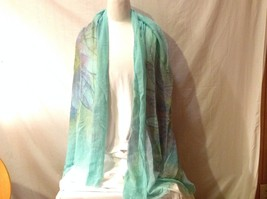 NWT New With Tags Aqua Blue Green Scarf Lavender Lime Light Blue Flower