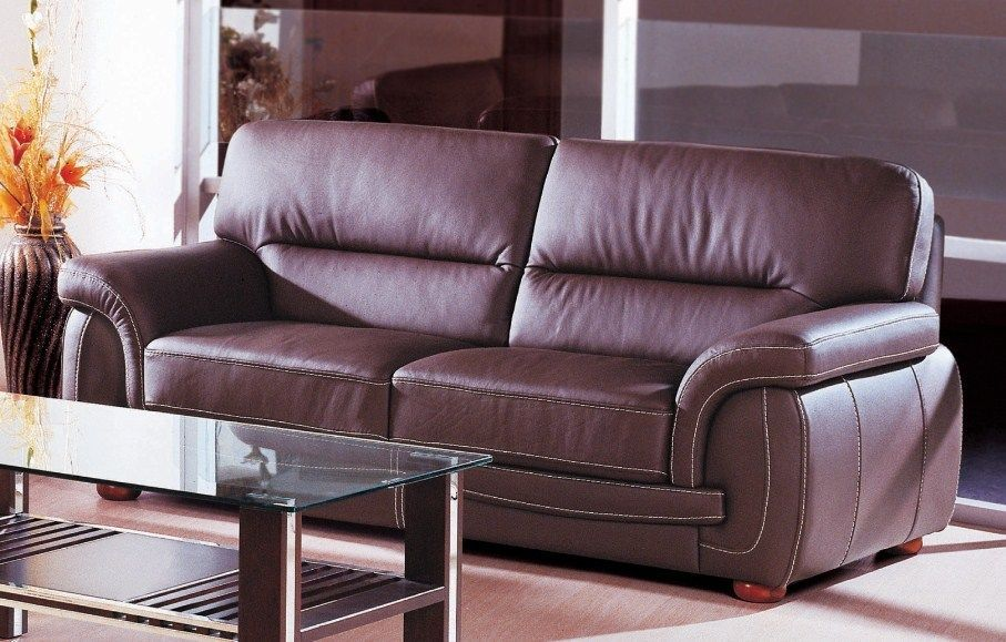 BH Sienna Brown Living Room Sofa Set 3pc. Top Grain Leather Contemporary Style