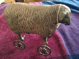 Reproduction of 1800s pull toy sheep with wheels decor only NOT a toy