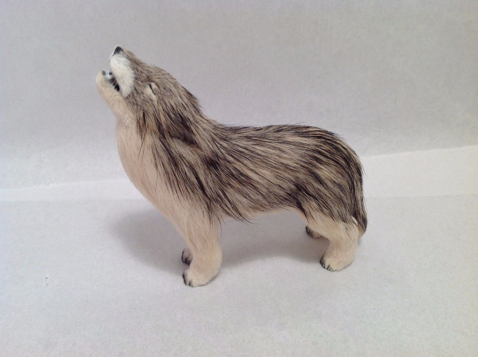 Wild Brown and Tan Howling Wolf Animal Figurine - recycled rabbit fur