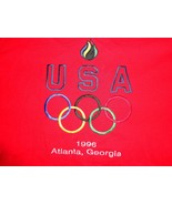 Vintage Red 1996 Atlanta Summer Olympics  Embroidered Heavy t shirt XL E... - $24.59