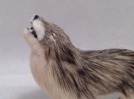 Wild Brown and Tan Howling Wolf Animal Figurine - recycled rabbit fur image 2