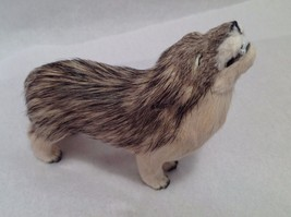 Wild Brown and Tan Howling Wolf Animal Figurine - recycled rabbit fur image 4