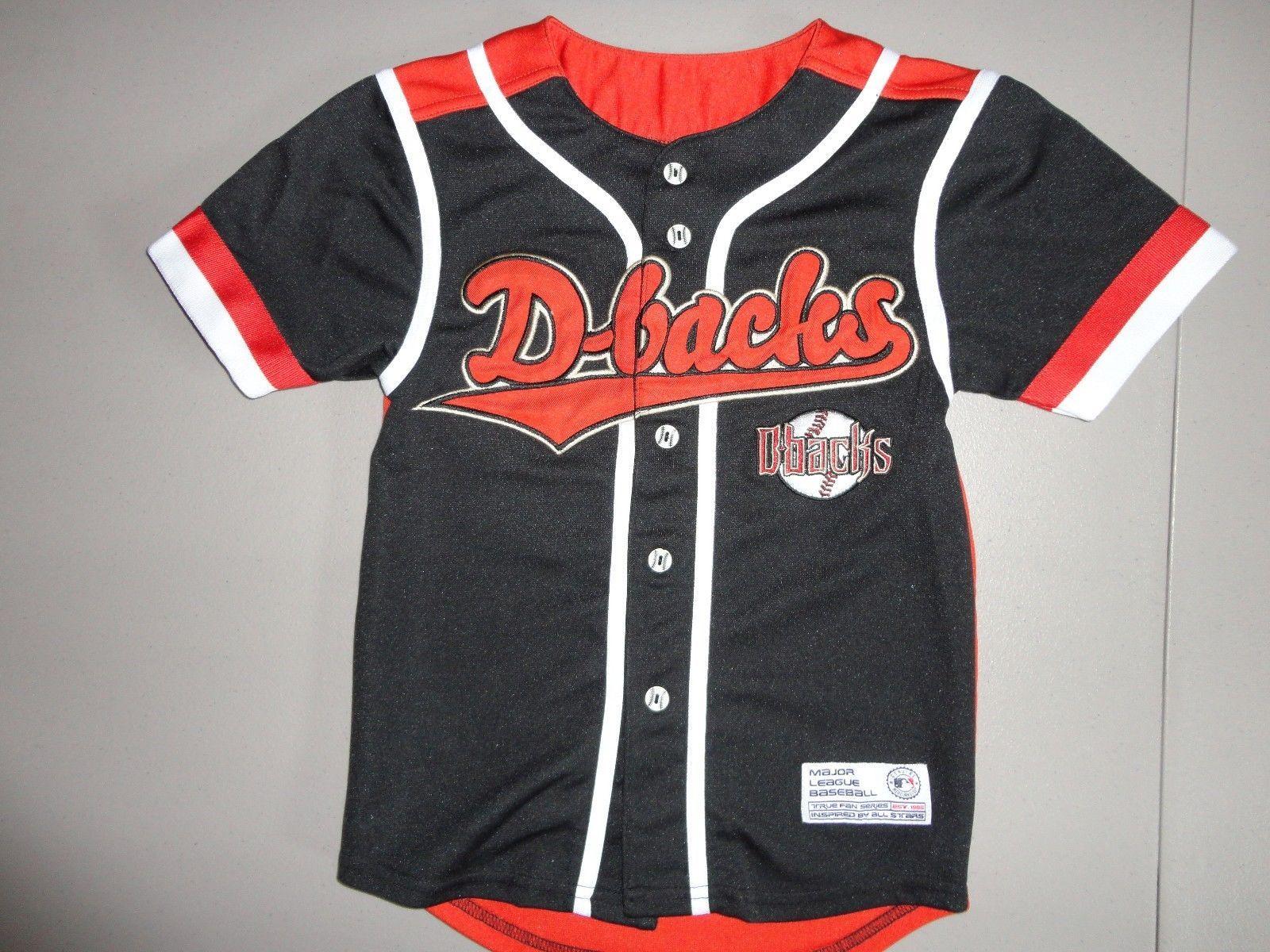 77d3cf1c57a Black Vintage True Fan MLB Arizona Diamondbacks Baseball SEWN Jersey Youth S