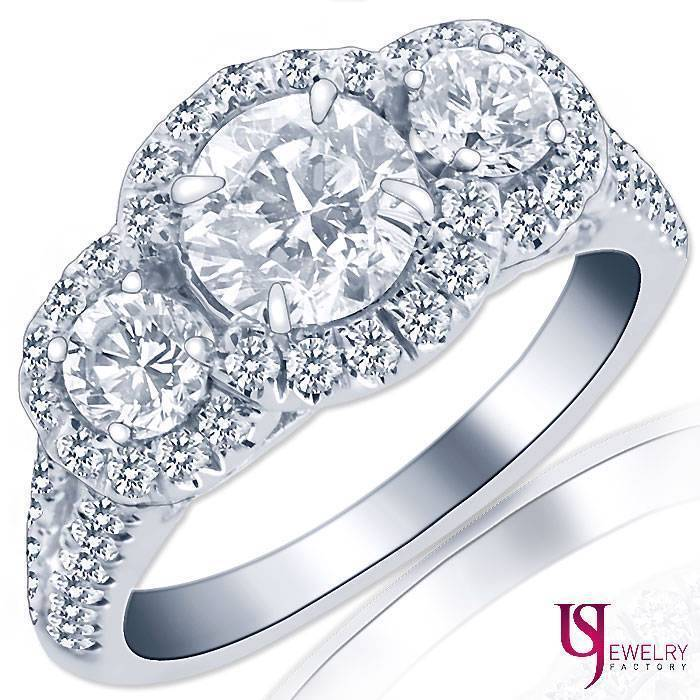 Primary image for 2.09 Carat (0.80) E/VS2 Three-Stone Round Diamond Engagement Ring 14k White Gold