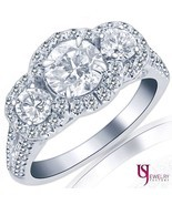 2.09 Carat (0.80) E/VS2 Three-Stone Round Diamond Engagement Ring 14k Wh... - $4,275.81