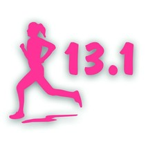 Marathon 13.1 GIRL WOMAN RUNNER running decal sticker for Olympic mile PINK - $8.83