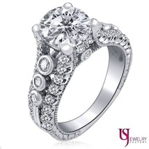 2.98 Carat (2.08) Round Cut Diamond Engagement Ring G-H/I1 18k White Gold - €5.976,06 EUR