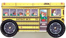 Keller Charles SCHOOL BUS Metal Tin Box Container Canister Moving Wheels... - $14.79