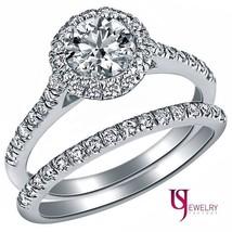 1.10Ct Natural Round Cut Diamond Engagement Ring Matching Wedding 14k Go... - £1,824.66 GBP