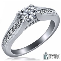 0.83 Carat (0.53) F-SI1 Pave Set Round Brilliant Cut Diamond Engagement Ring 14K - $1,266.41