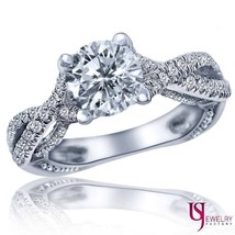 Charming Round Diamond Engagement Ring 14k White Gold Waved Shank 1.76ct... - €3.349,12 EUR