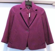 TALBOTS Jacket Coat Plum Woven Look 100% Cotton Mid Sleeve-SZ 2 - NWT -S... - $69.95