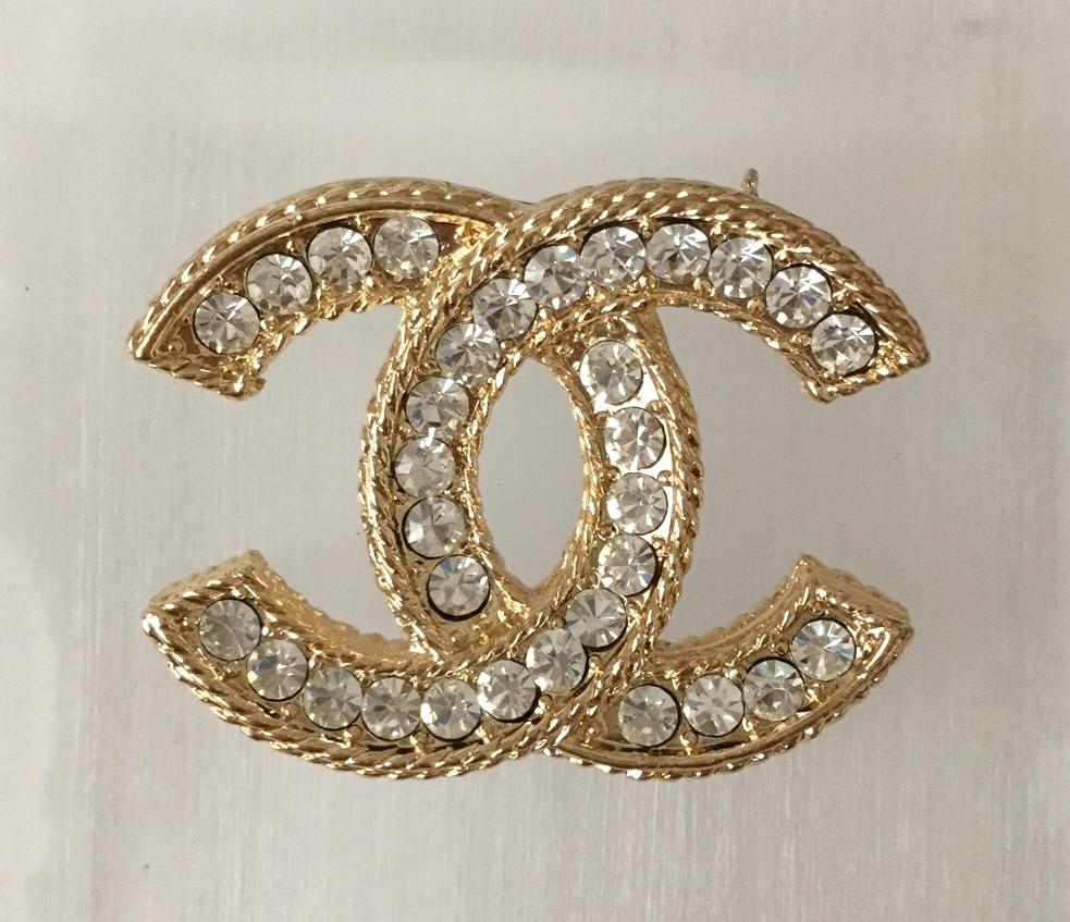CHANEL Fashion Brooch Pin GOLD Super Bling Shine ...