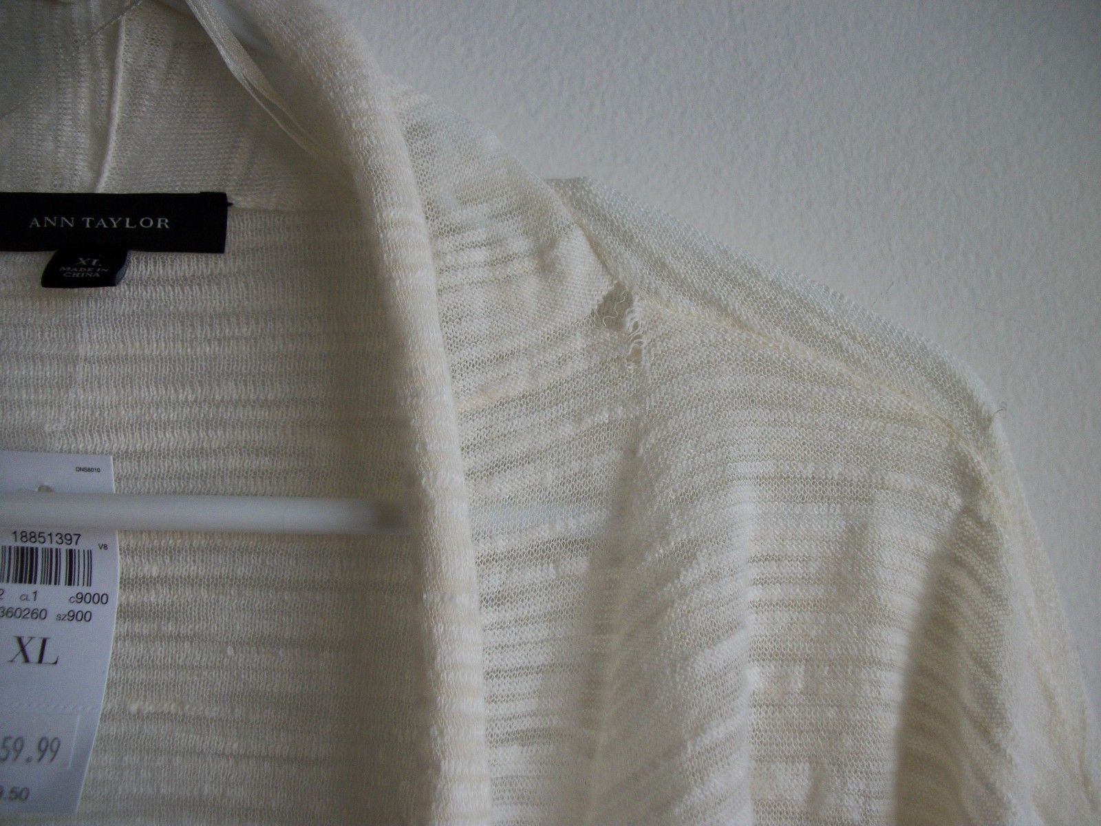 Ann Taylor Women's Off White Linen Blend Open Cardigan, size XL, New with defect