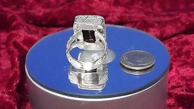 Size 8    Bali Legacy Collection Thai Black Spinel  Ring in .925 Sterling Silver