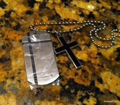 Men's Stainless Steel Dog Tag with Diamond With... - $49.00
