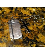 Men's Stainless Steel Dog Tag with Diamond With Black Cross - $49.00