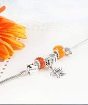 Silver Charm Bracelet with Charms, Starter Charm Bracelet with Orange Charms,... - $12.67