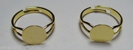 50 Gold Plated Adjustable Ring Blanks 10mm flat... - $14.40