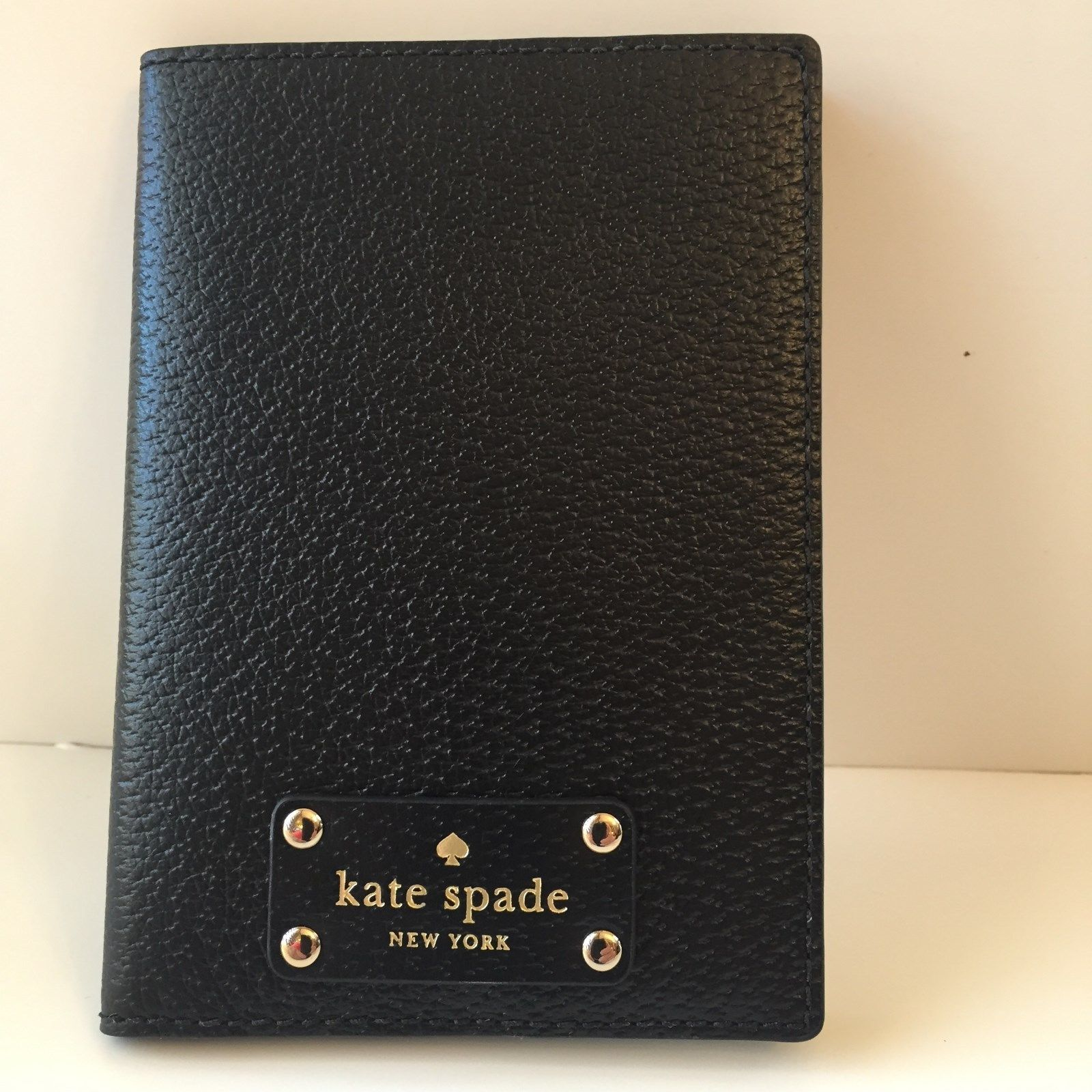New! Authentic Kate Spade Black Wellesley Passport Holder Case Wallet WLRU1236