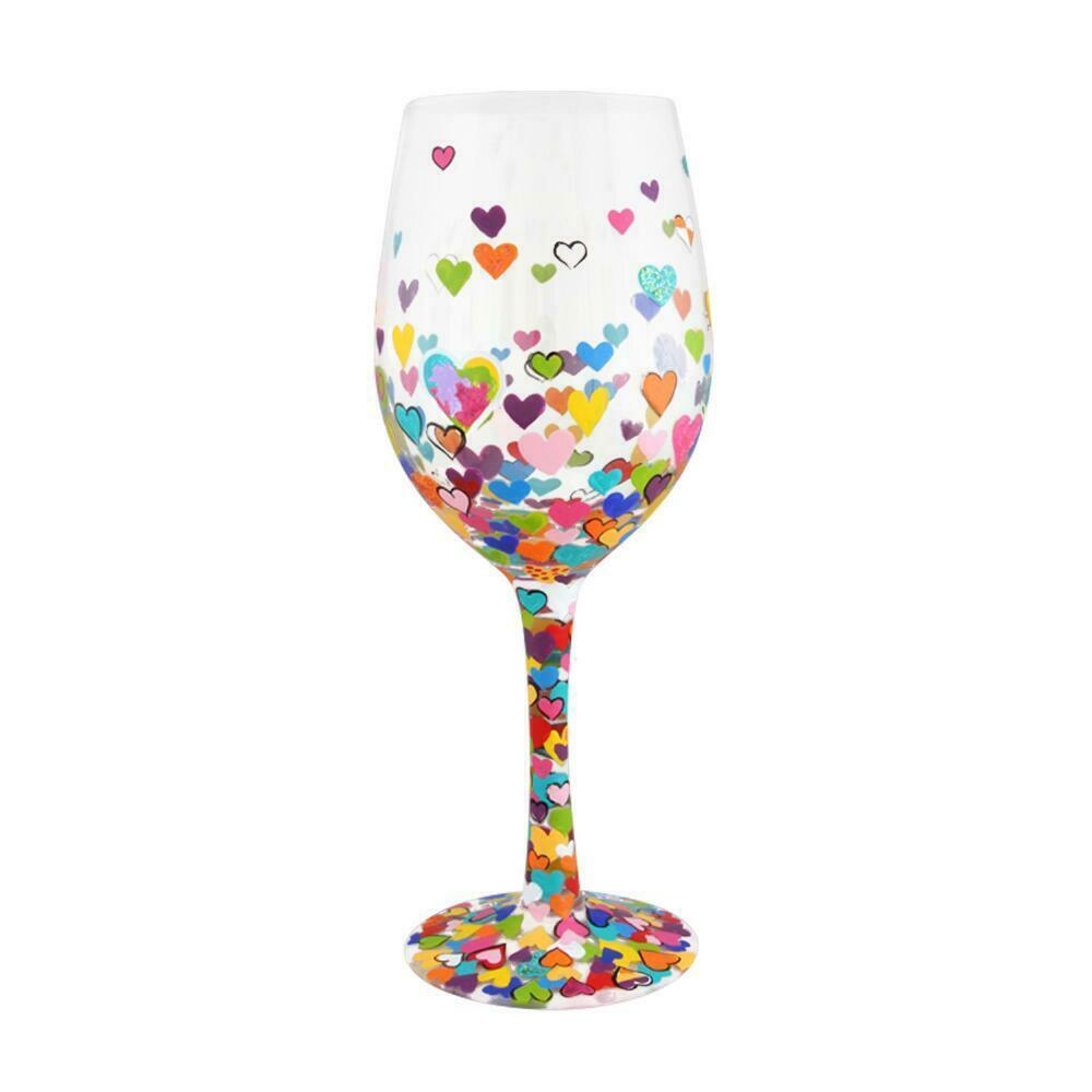 "Hearts a Million ""Designs by Lolita"" Wine Glass 15 o.z. 9"" High  Gift Boxed"