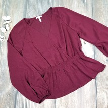 New LEITH sz L womens  red faux wrap peplum long sleeves blouse top - $19.00