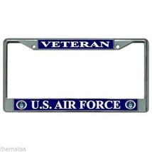 AIR FORCE VETERAN CHROME LICENSE PLATE FRAME MADE IN USA - $29.69