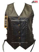 WOMEN'S LADIES MOTORCYCLE STUDDED RIDERS BLACK SOFT LEATHER VEST W/ SIDE... - $83.86+