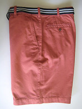 IZOD Men's Flat Front Bermuda Shorts 40 Light Red Baked Apple with Belt NEW - $26.45