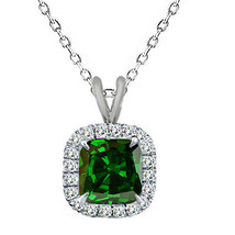 """6mm 925 Silver Cushion Cut Emerald Birth Gemstone Silver Halo Pendant 18"""" Chain - $49.48"""